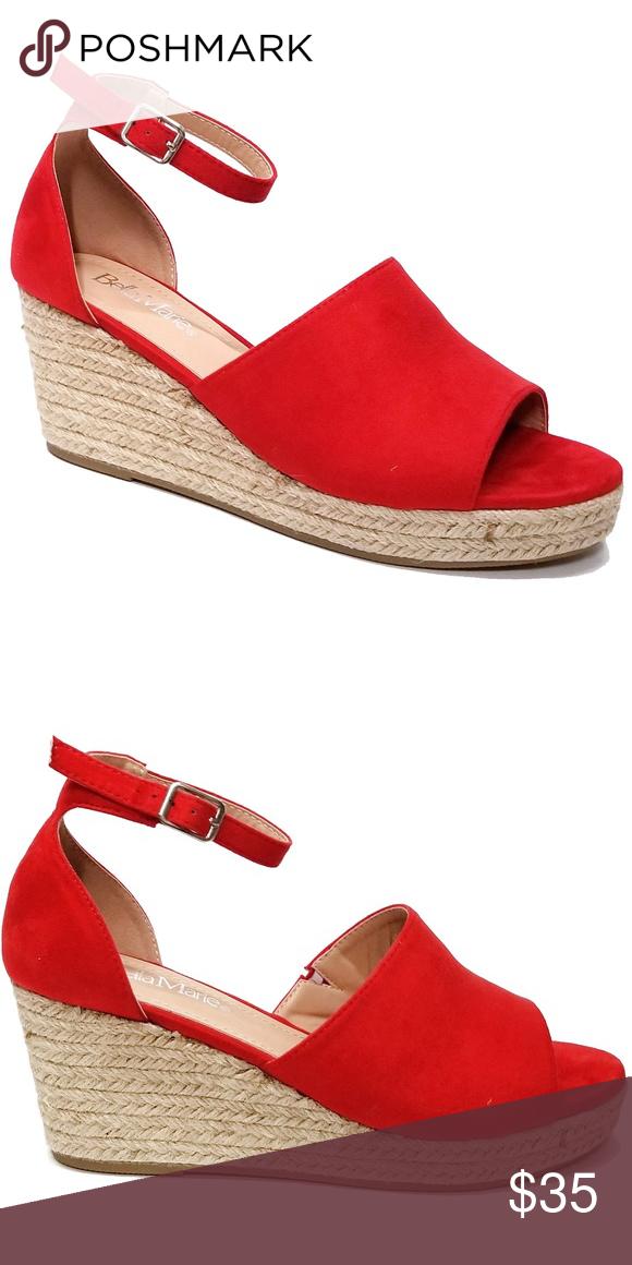 Open Toe Low Platform Espadrille Sandal