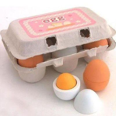 Ovos De Madeira 6x Gema Brinquedos de faz de conta Culinária Cozinha Comida Bebê Crianças Crianças Conjunto Brinquedo