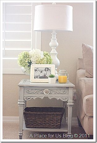 thrift store side table makeover things i love home decor bedroom decor side table decor. Black Bedroom Furniture Sets. Home Design Ideas