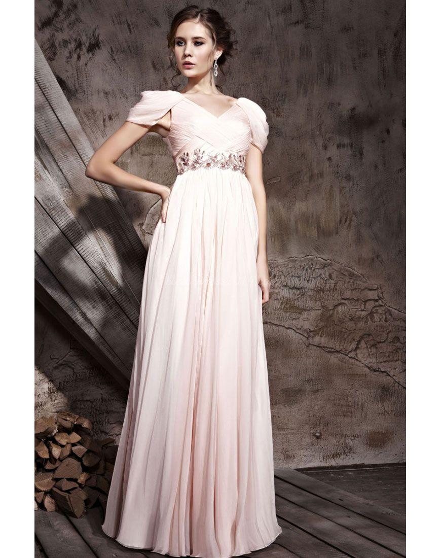ruched v-neck tencel long empire cap sleeve evening dress - newdress2014.com