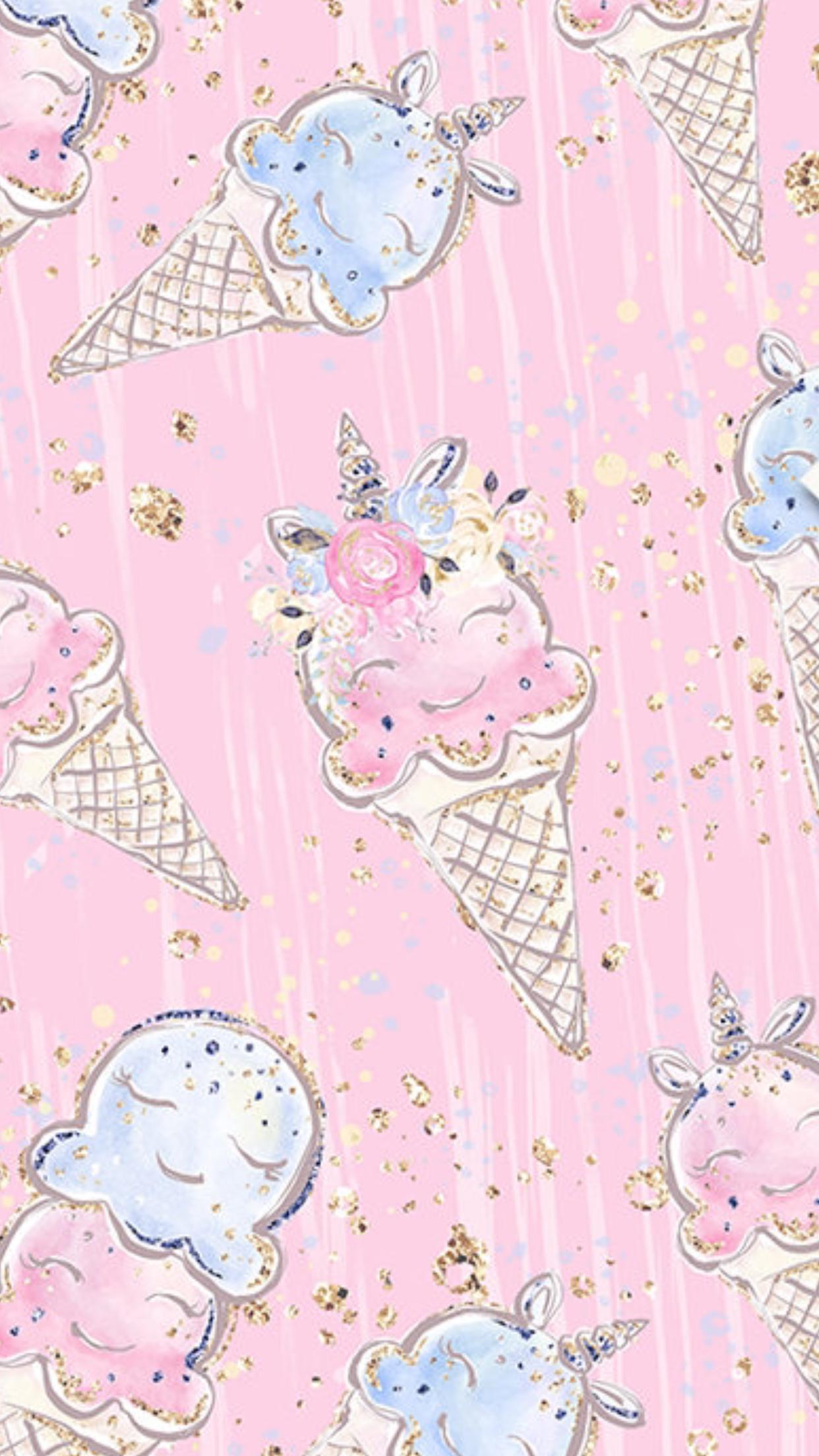 Ice cream Unicorn wallpaper, Cute wallpapers, Kawaii