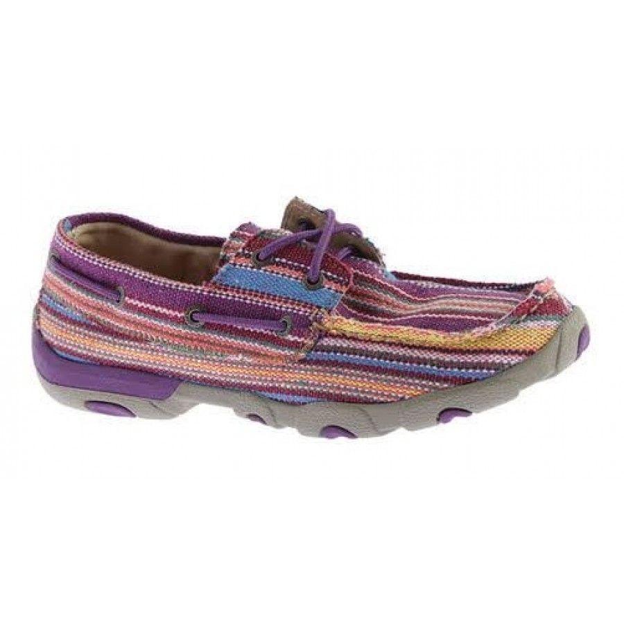 afacda04fb7c Twisted X Ladies  Driving Mocs Purple Canvas Shoe