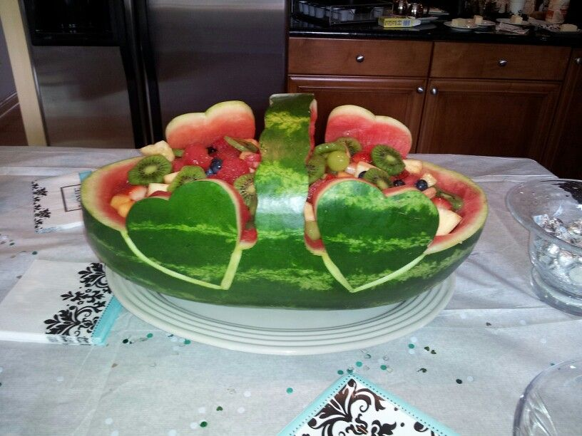 Carved watermelon for bridal shower party ideas