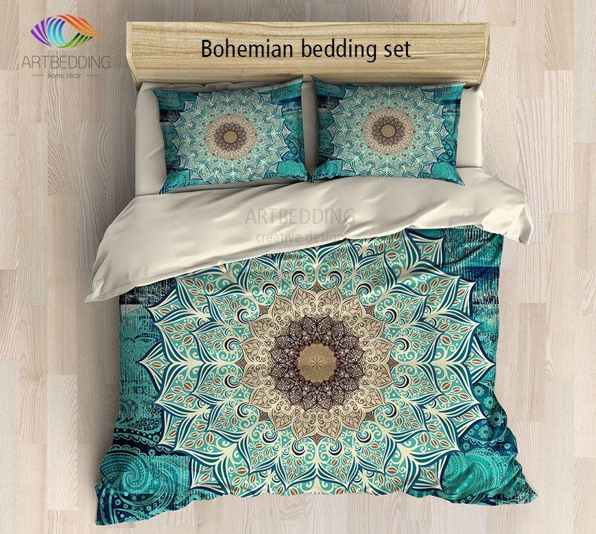 Mandala Bedding Bohemian Queen King Full Twin Duvet Cover Set Flower Mandala For Balance And Chic Duvet Covers Boho Bedroom Decor Duvet Covers Bohemian