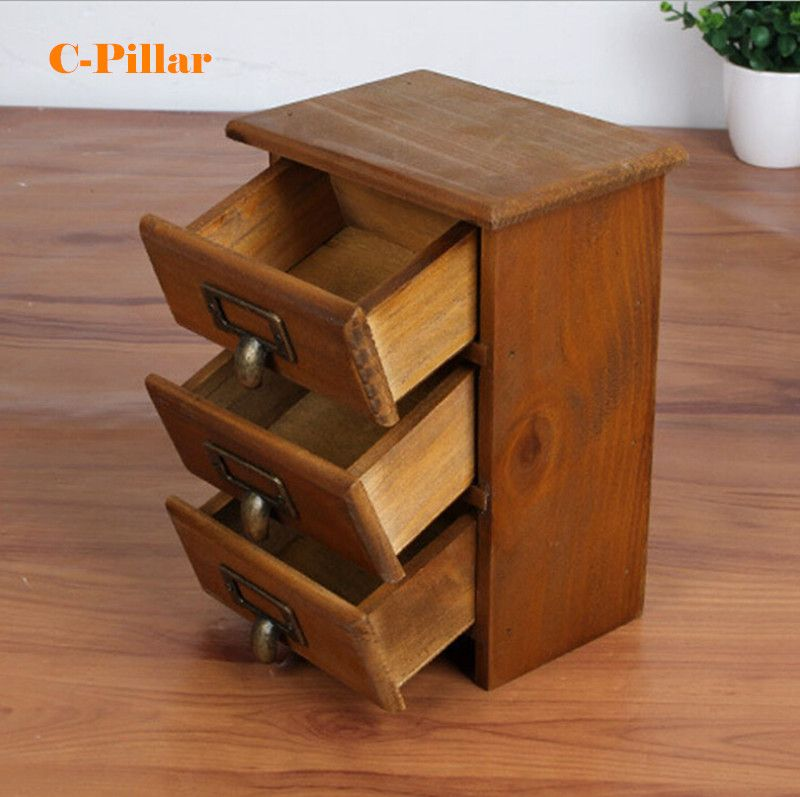 New Arrival Three Layer Retro Small Wood Storage Cabinet Drawers