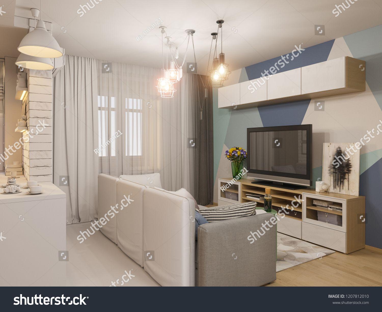 3d Render Living Room And Kitchen Interior Design Modern Studio