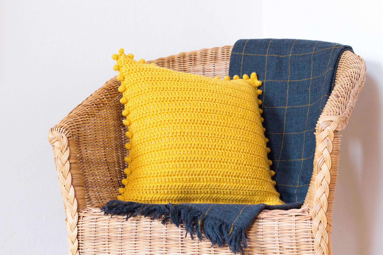 pom pom pillow cover mustard yellow
