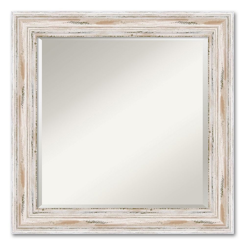 Alexandria Square Whitewash Distressed Wood Wall Mirror White Mirror Wall Wood Wall Mirror Distressed Wood Wall