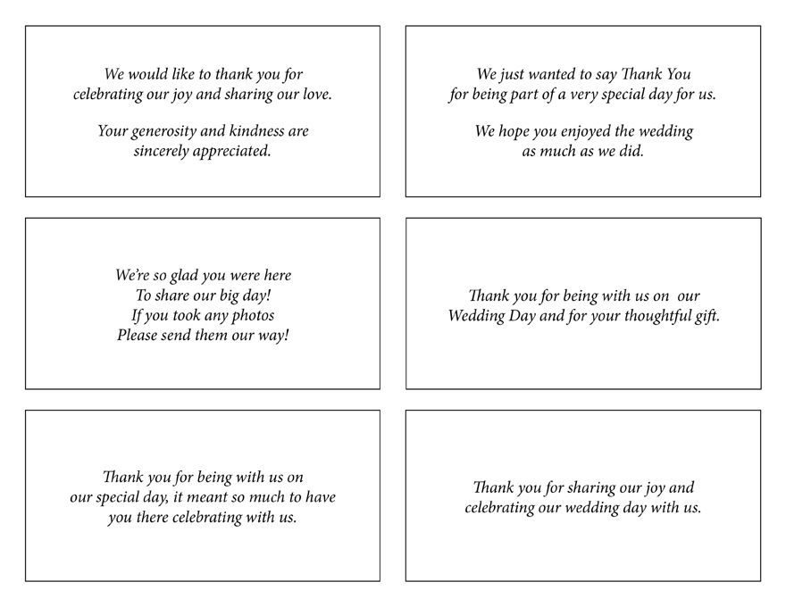 Wedding Thank You Note Wording Wedding Thank You Notes Wording