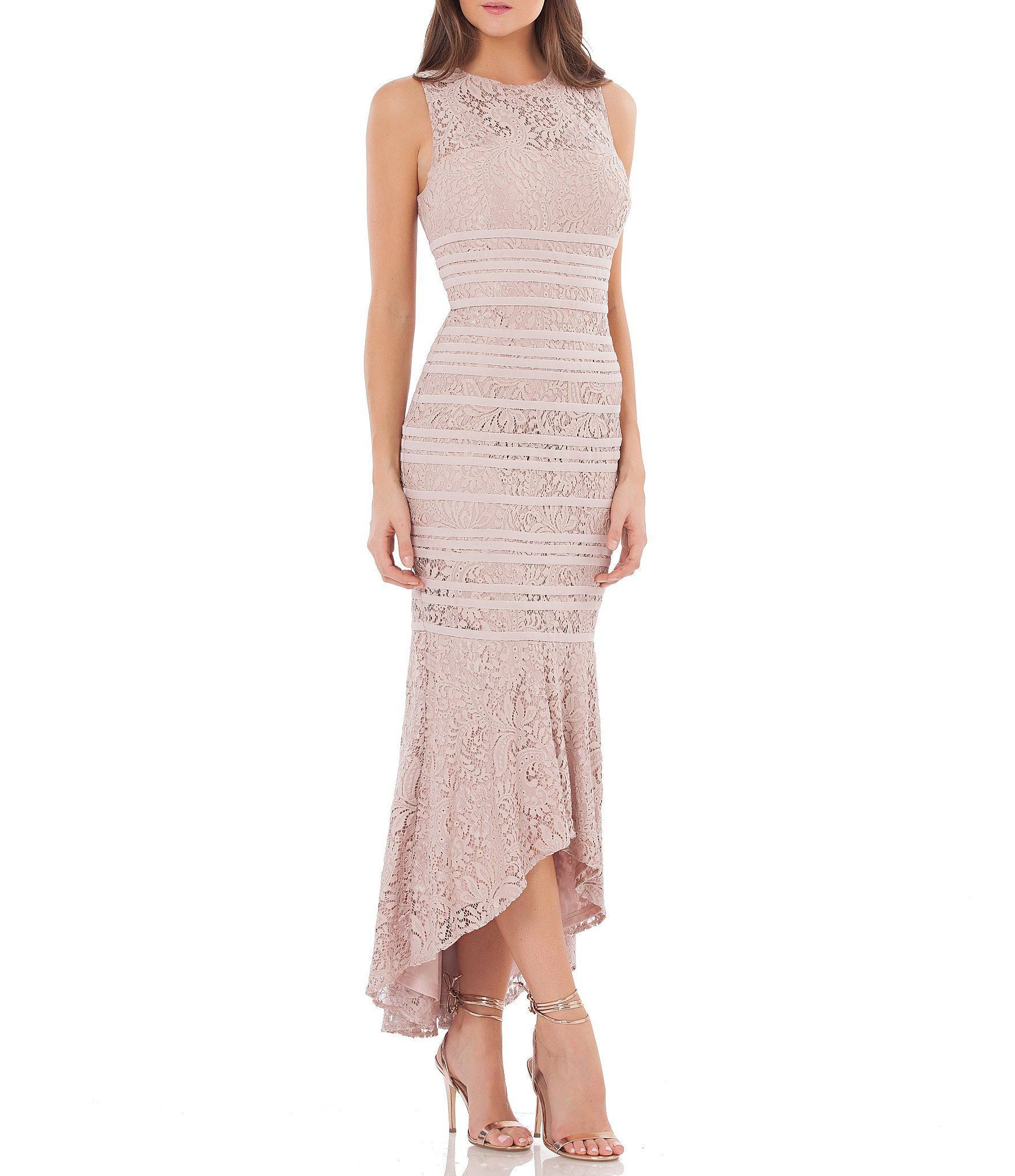 JS Collections Lace Piped High-Low Gown | Dillards, Gowns and ...