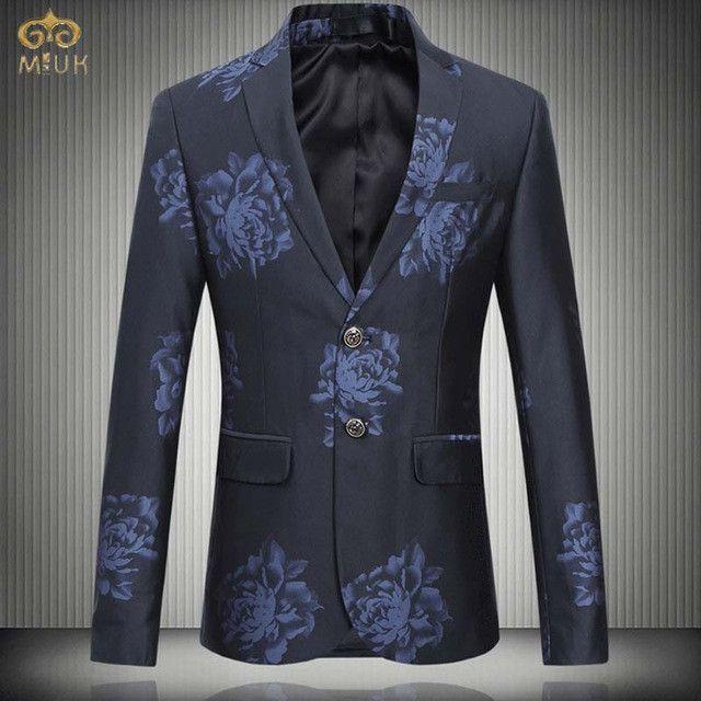 78badbc8b MIUK 2017 New Large Size Floral Blazer Men Brand Clothing M~6XL High  Quality Blue Gray Men Blazer Slim Fit Blazer Masculino