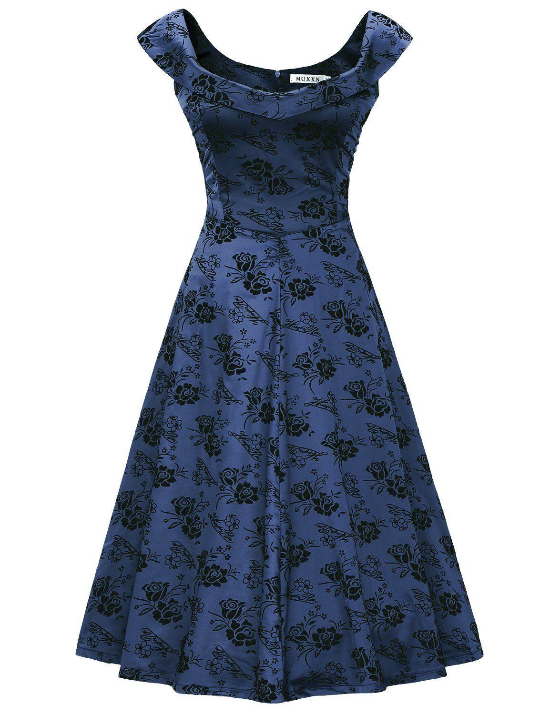 49587db72 MUXXN Womens 1950s Scoop Neck Off Shoulder Cocktail Dress: Amazon ...