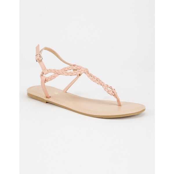 Free Reign Braided T Strap Womens Sandals ($15) ❤ liked on Polyvore featuring shoes, sandals, woven sandals, t strap shoes, faux leather shoes, t bar shoes and vegan leather shoes