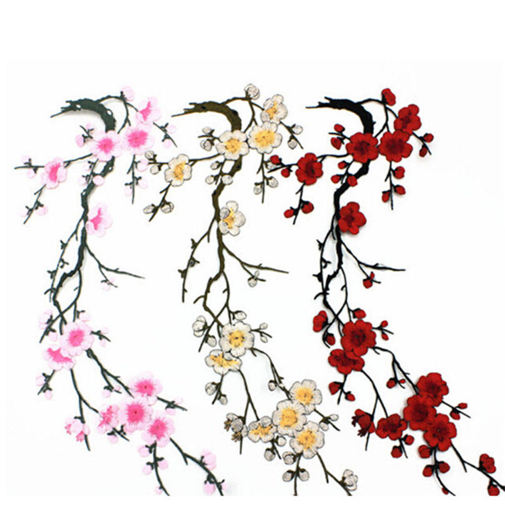 Pcs plum blossom flower embroidery sew iron on patch clothes fabric
