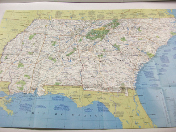 Map Of Georgia Tennessee And South Carolina.Vintage Southeast Map Color National Geographic Map