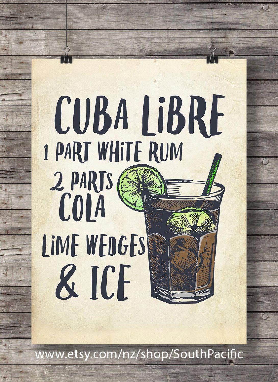 Cuba Libre Cocktail print | Cocktail Illustration | Bar Decor | Kitchen decor | Cuba Libre Classic cocktail.