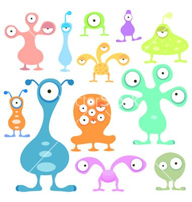 Kids Space Elements With Images Cartoons Vector Alien