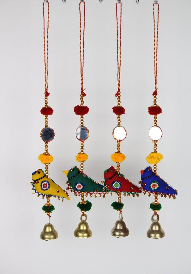 2Pcs Hanging Wooden Pendant Elephant Traditional Handicrafts Home Decoration