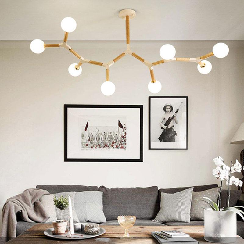 Nordic Magic Bean Pendant Light Creative Wooden Lighting Dining