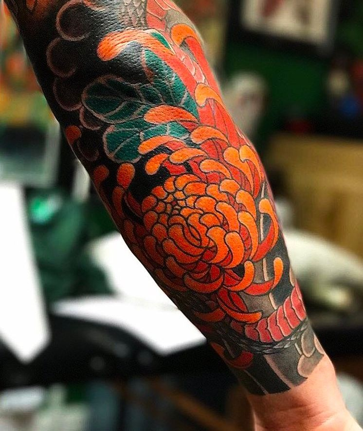 0be831193 Japanese tattoo sleeve. Really vibrant colors. Awesome design. # CuratedTattoos