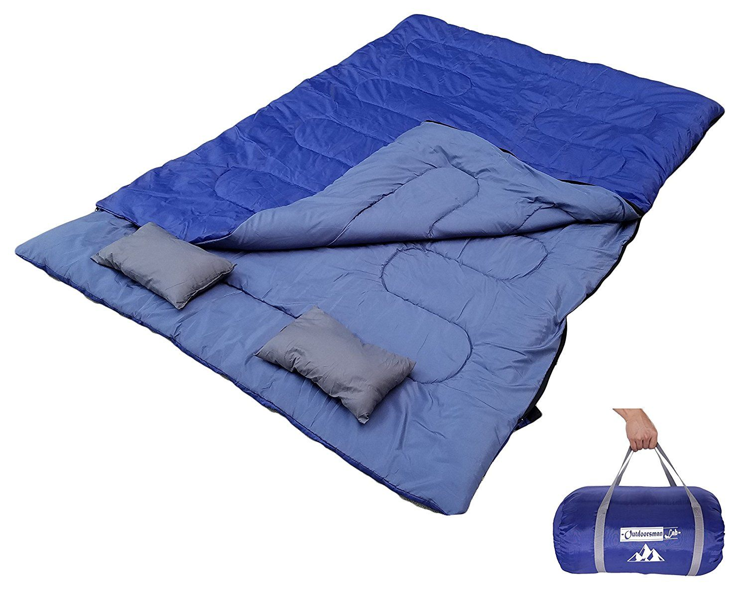Outdoorsmanlab Double Sleeping Bag With 2 Pillow And