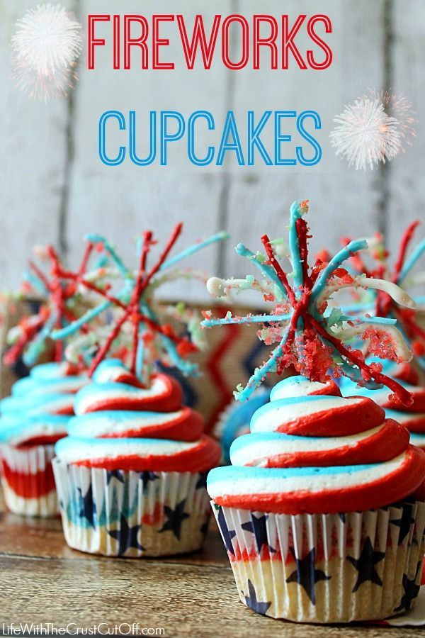 "Fireworks Cupcakes They are delicious and the fireworks actually ""explode"" (thanks to poprocks) #cupcakes #dessert #fireworks"