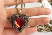 Bejeweled Angel Heart Necklace