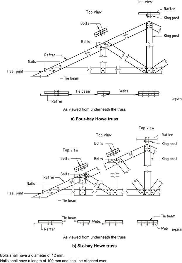 Figure 11 — Howe truss joint details | Architecture | Roof trusses
