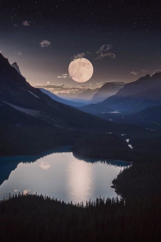 A Moonrise Over A Mystical Mountain Landscape Very Beautiful Beautiful Moon Nature Photography Night Skies