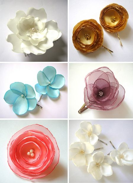 Must have accessory silk floral hair clips wedding inspiration silk floral hair clips by aya wedding these could be cute on the bridesmaids or the bride mightylinksfo
