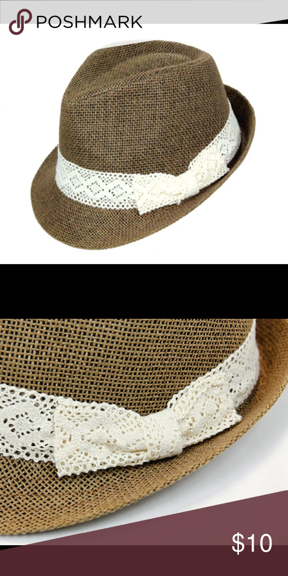 ce798ce148c20 New women s lace band fedora Paper straw fedora. Crown measures 4 inch with  inner sweatband