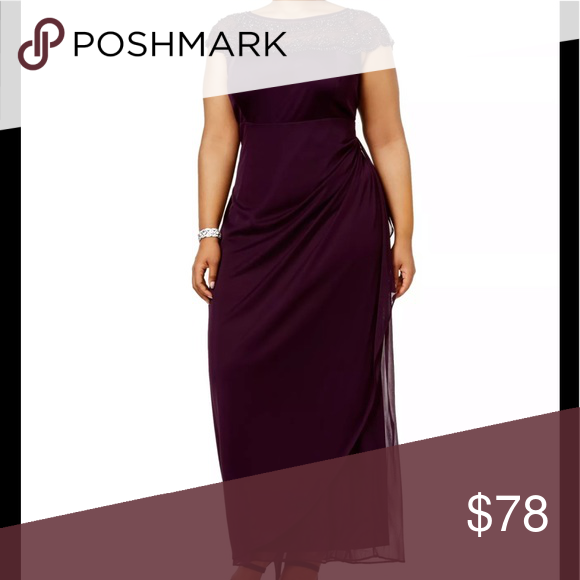 NEW MSK Plus Size 16W Formal Evening Dress Purple Brand:MSK ...