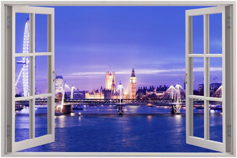 huge 3d window london view wall stickers film mural art on wall stickers 3d id=83315