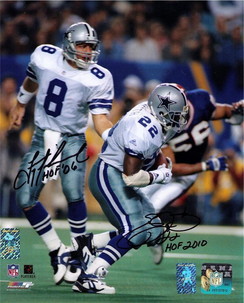 5687a521d Emmitt Smith Troy Aikman Signed Dallas Cowboys 8x10 Photo HOLO s ...