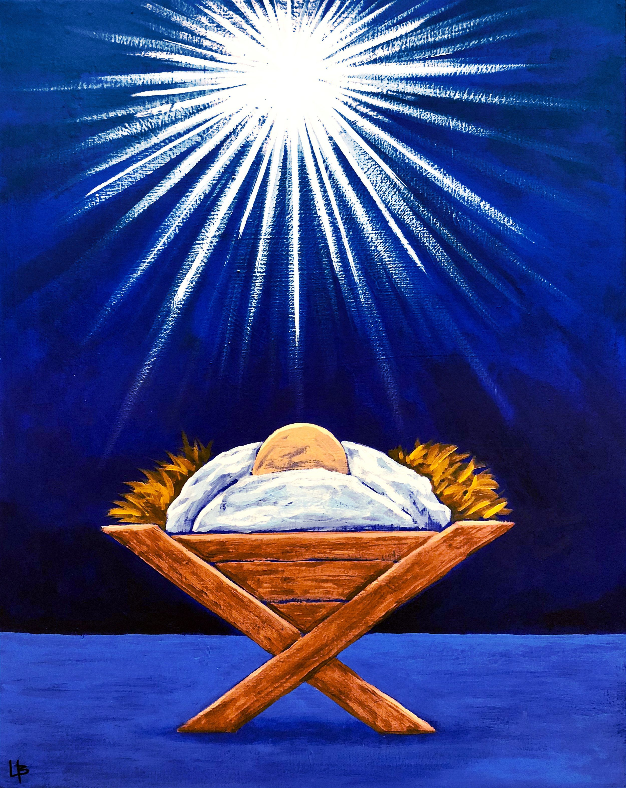 Baby Jesus In A Manger At Christmas Painted Christ Christmas Paintings Christian Christmas Christmas Art