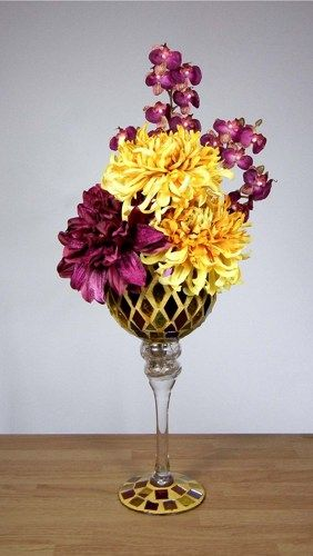 Flower Arrange In Wine Glass Yellow And Mauve Floral Arrangement