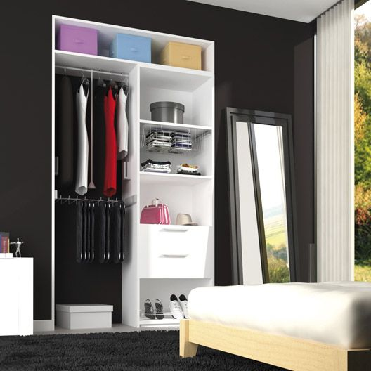 am nagement spaceo dressing coloris blanc profondeur 40 cm rangement dressing chambre meuble. Black Bedroom Furniture Sets. Home Design Ideas