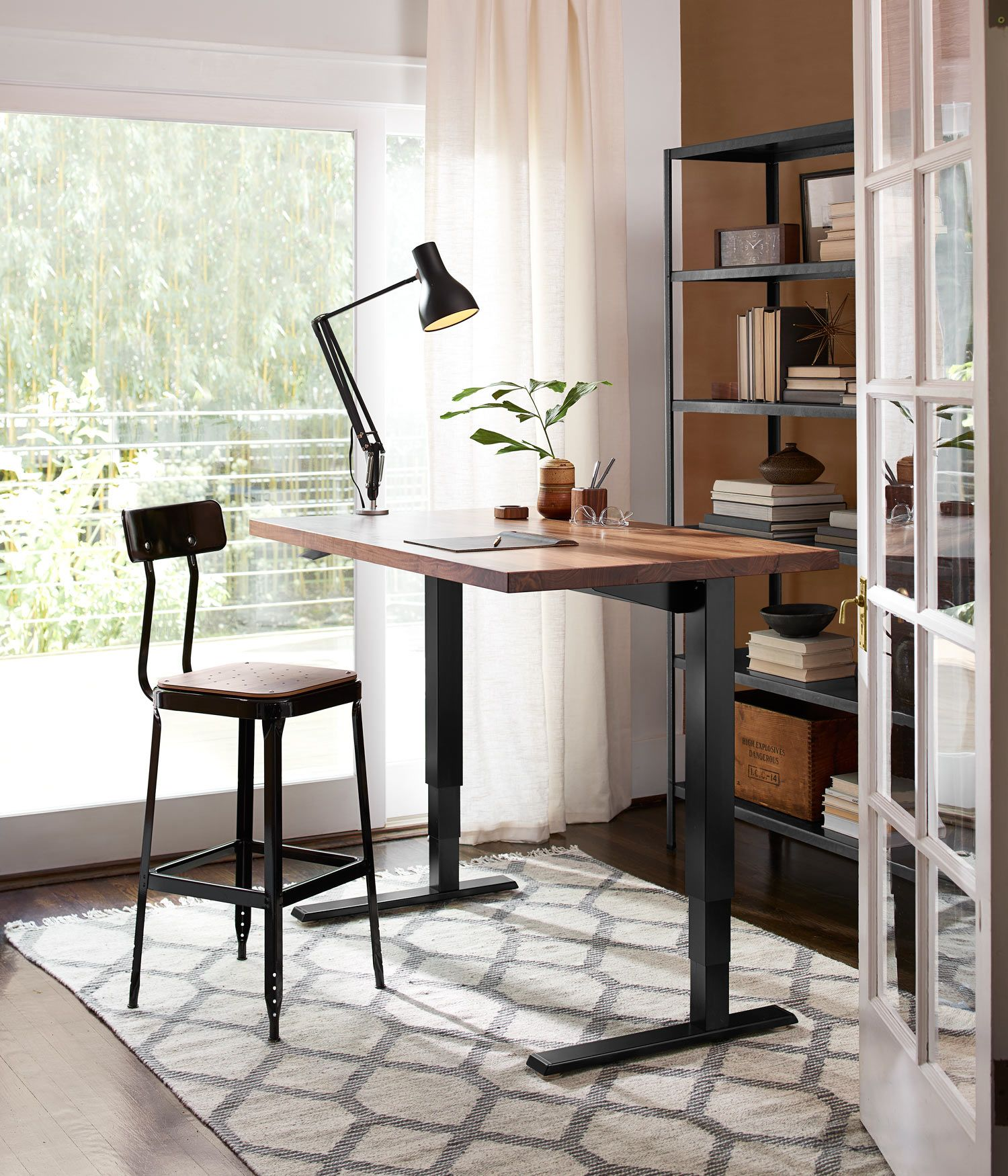Humanscale® Sit + Stand Desk - Black with Walnut  Office desk