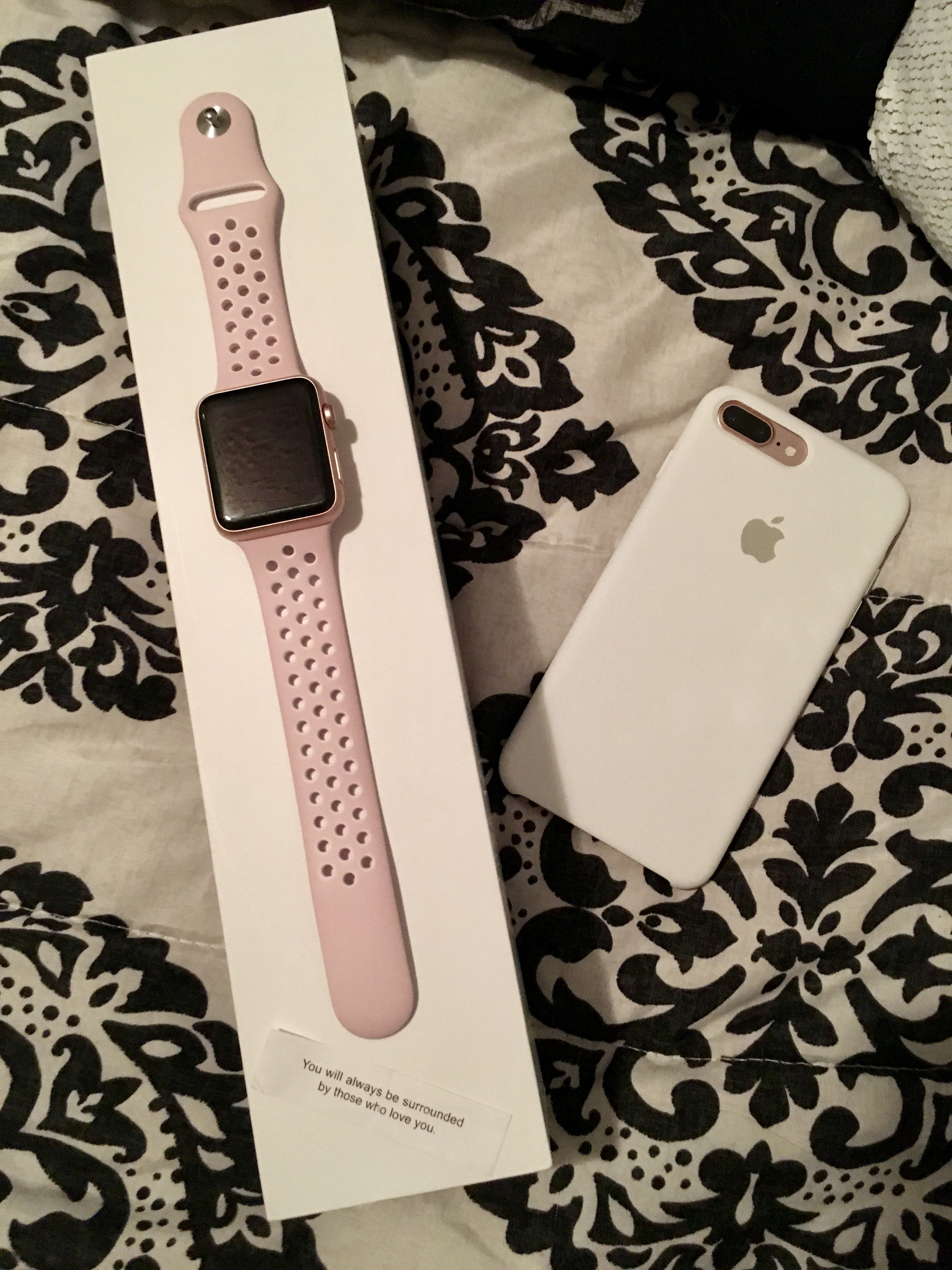 Apple Watch 42 Mm Rose Gold With Nike Sport Band In Barley Rose Pink Pearl Iphone 7 Plus In Apple Silicone Case Apple Watch Nike Nike Watch Apple Watch Bands
