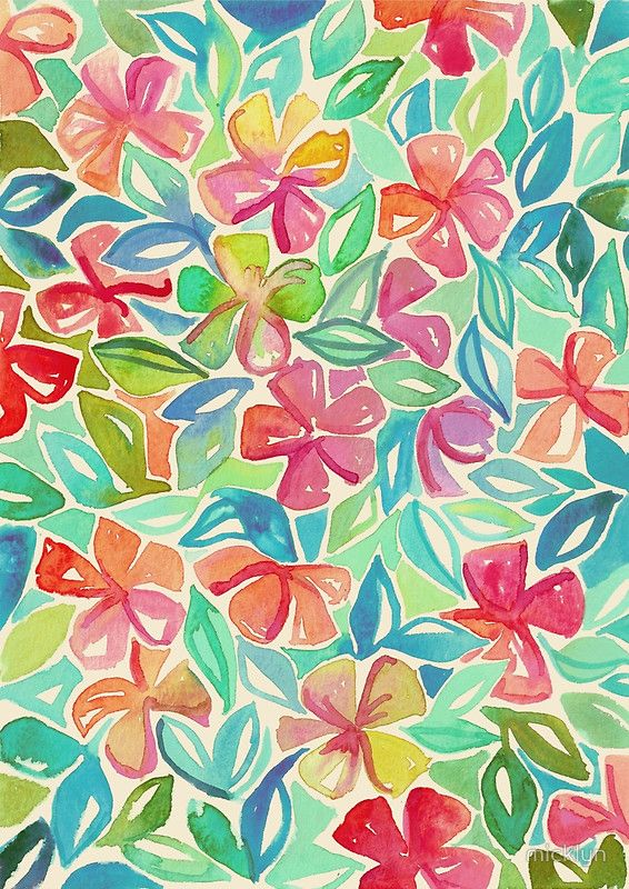 Tropical Floral Watercolor Painting by #Micklyn on #Redbubble - Available as T-Shirts & Hoodies, Stickers, iPhone Cases, Samsung Galaxy Cases, Posters, Home Decors, Tote Bags, Prints, Cards, Kids Clothes, and iPad Cases