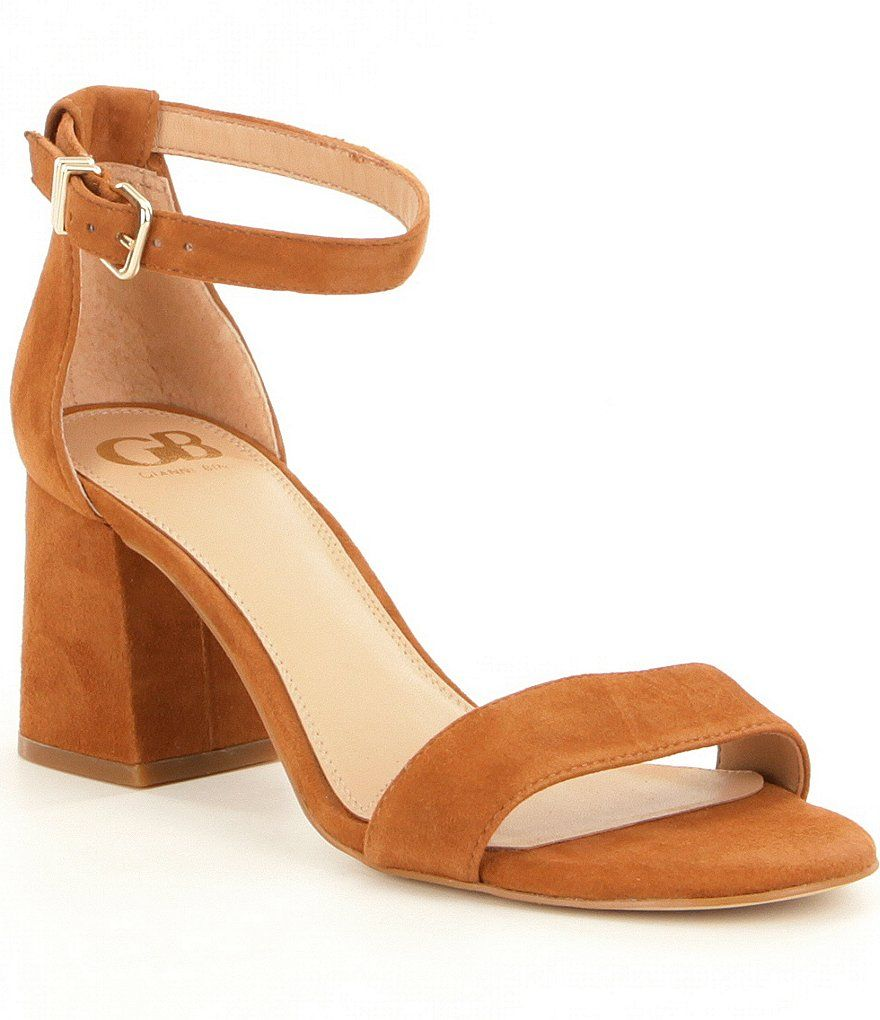 Block-Party Nubuck Ankle Strap Block Heel Dress Sandals XVDC8