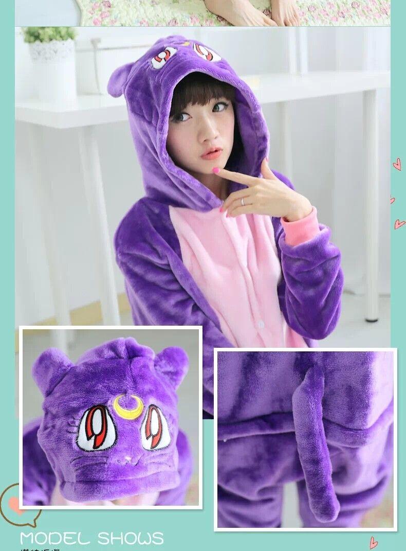 Diana purple cat one piece kigurumi cute cartoon anime