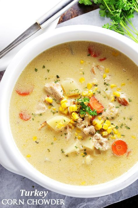 Turkey Corn Chowder- One pot and 30 minutes is all you will need to make this delicious and hearty, quick-cooking chowder, loaded with turkey and corn.