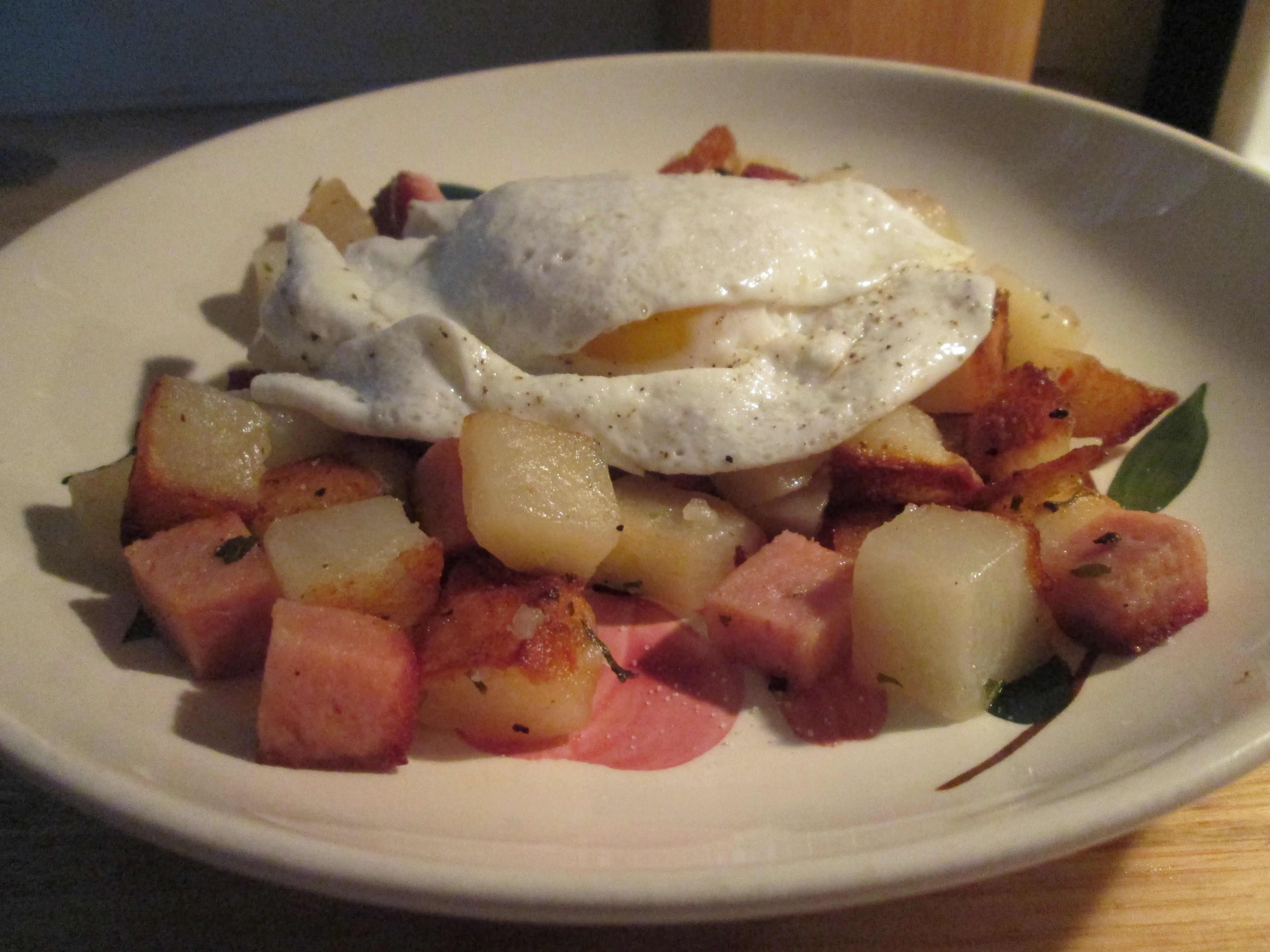 I prepared a Turkey Spam and Diced Potato Hash topped with a Fried Egg. I used a can of Turkey Spam, that diced up. Then for the Potatoes I used a bag of Simply Potatoes Steakhouse Seasoned Diced Potatoes.