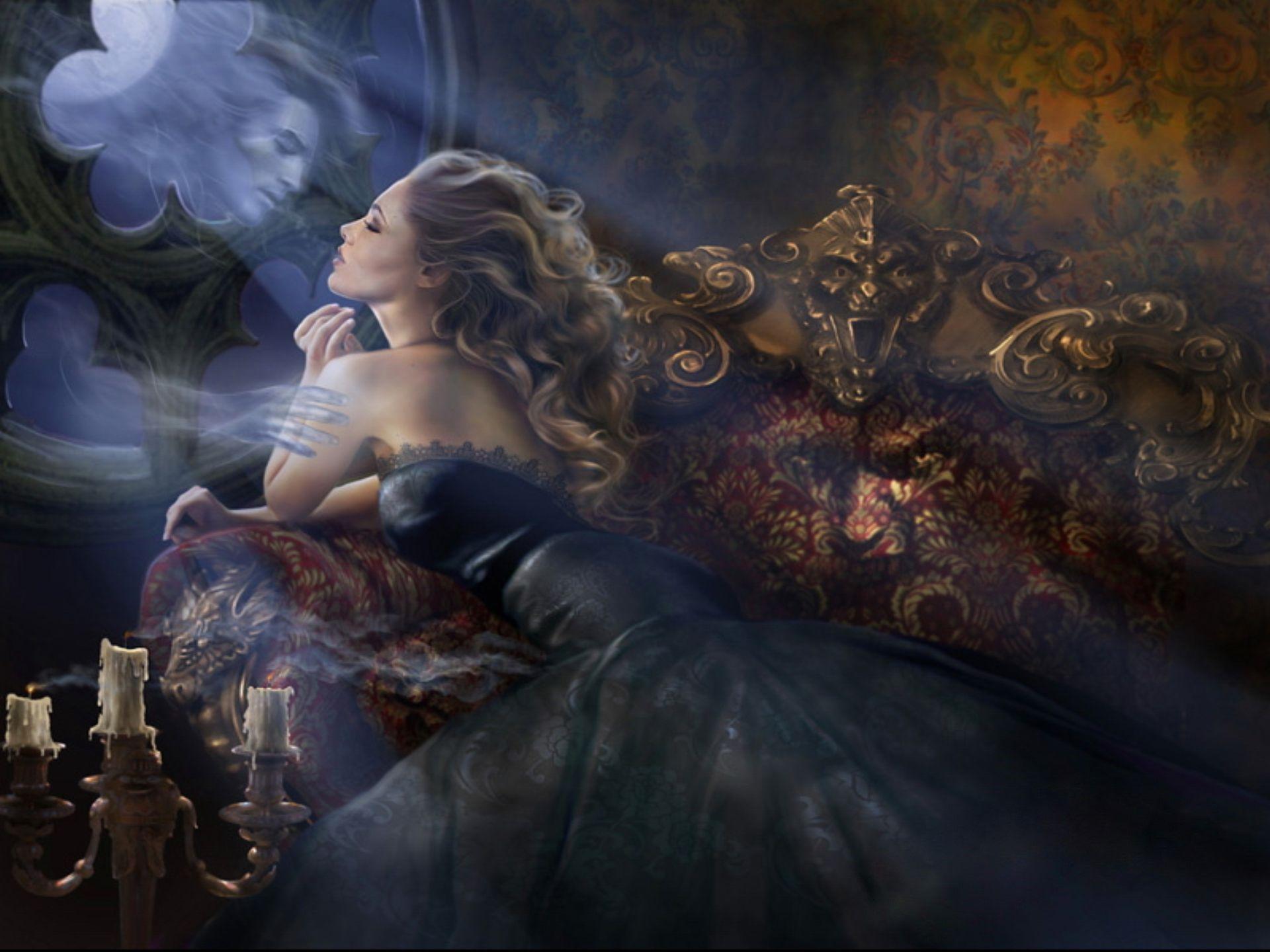 love romance ghost mirror sad sorrow women blondes art fantasy