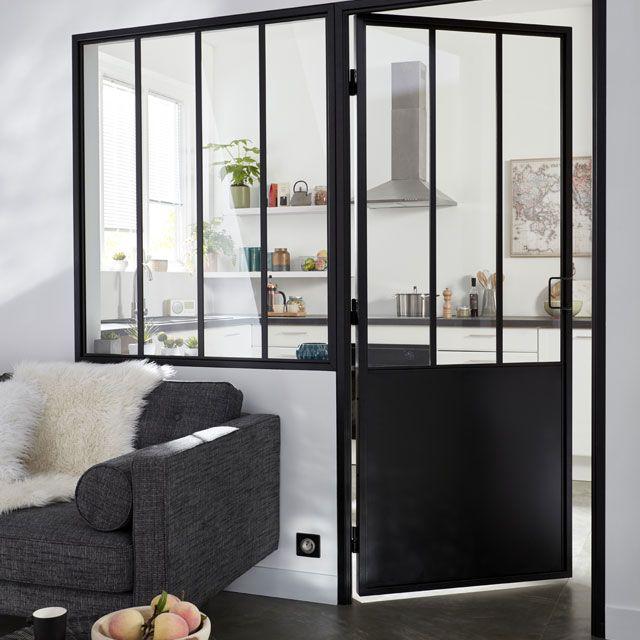 Bloc Porte Atelier Noir 83cm P Droit Castorama Renovation Maison Idee Entree Maison Porte Galandage