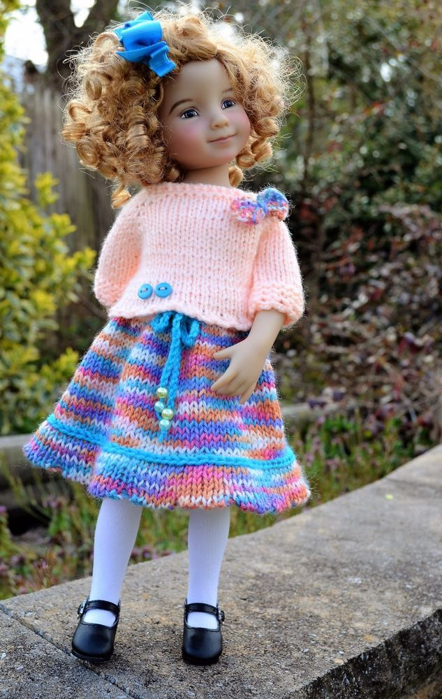 """13"""" Little Darling by Dianna Effner OOAK Hand Knit 3 pc OUTFIT for Spring Wear   Dolls & Bears, Dolls, Clothes & Accessories   eBay!"""