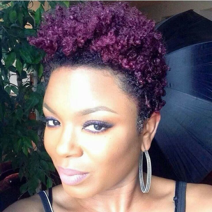 Short Natural Hairstyles With Color: Black Women Purple Hair Color Natural
