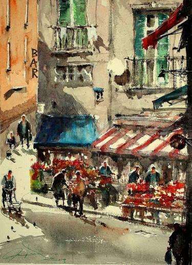 "Saatchi Art artist maximilian damico, ""Italian corner market"""