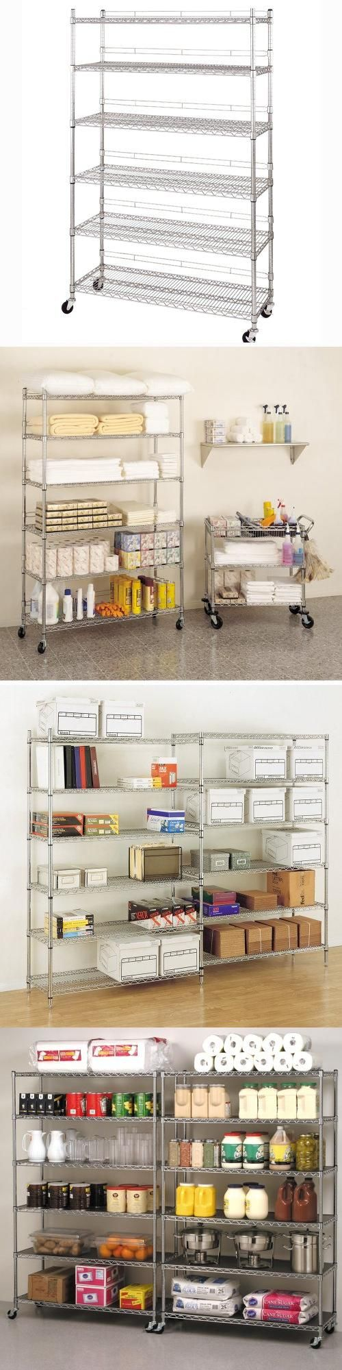 Seville Classics WEB189 6-Shelf Wire Shelving System with Casters ...